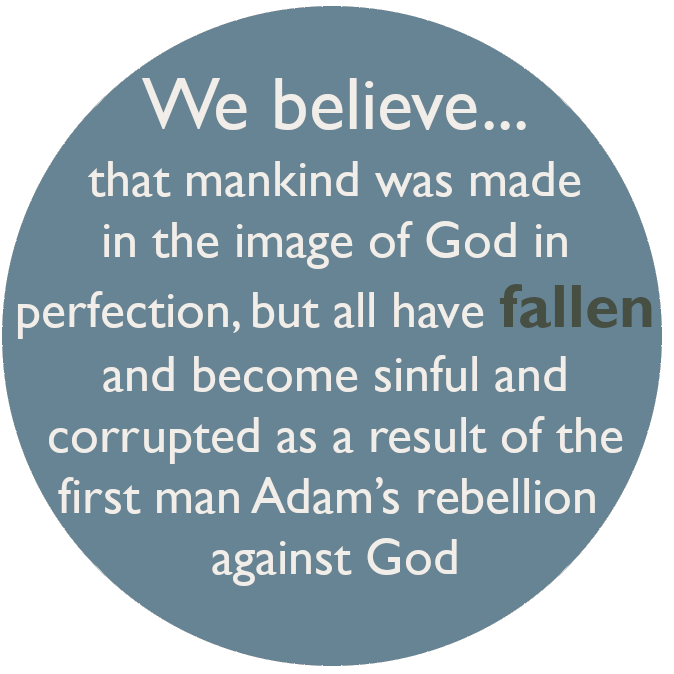 We believe that mankind was made in the image of God in perfection, but all have fallen and become sinful and corrupted as a result of the first man Adam's rebellion against God