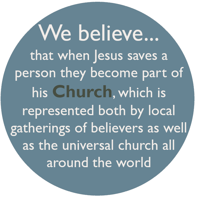 We believe that when Jesus saves a person they become part of his Church, which is represented both by local gatherings of believers as well as the universal church all around the world