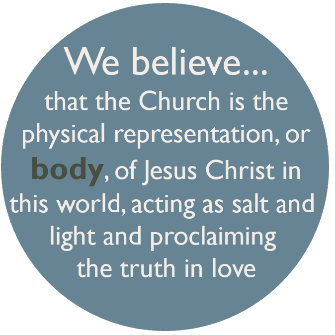We believe that the Church is the physical representation, or body, of Jesus Christ in this world, acting as salt and light and proclaiming the truth in love